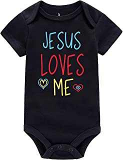 WINZIK Baby Boy Girl One-Piece Bodysuit Romper Outfit Jesus Loves Me Newborn Infant Jumpsuit Creeper Shirt Clothing Gift