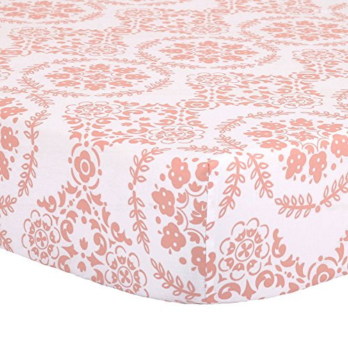 Coral Pink Medallion Fitted Crib Sheet - 100% Cotton Floral Damask Baby Girl Nursery and Toddler Bedding