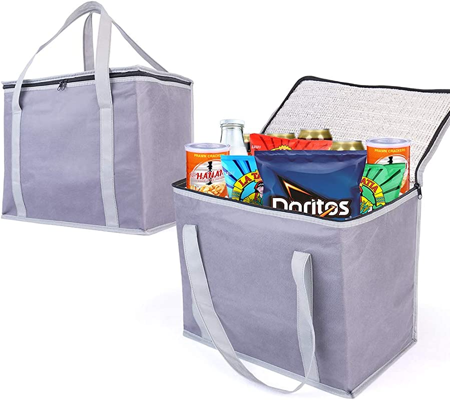 2 Insulated Reusable Grocery Shopping Bags Xl Large Picnic Cooler Bag Zipper Zippered Top Cold