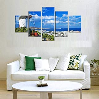 Ssckll 5 Pieces Wall Hanging Pictures Greece Santorini Island Scenery Landscape Oil Paintings Printed Home Decor Painting-Framed