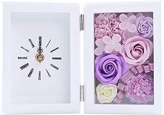 WEISHY ソープフラワー 花 時計 木製フレーム フラワーギフト 誕生日 プレゼント 女性 母の日 ギフト 結婚祝い バレンタイン ホワイトデー お返し 敬老の日 記念日 お祝い 枯れない花 バラ 置き時計 造花 フラワーアレンジメント (パープル)