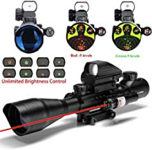UUQ 4-12X50 Rifle Scope Dual Illuminated Reticle W/Green(RED) Laser Sight and 4 Tactical Holographic Dot Reflex Sight (12 Month Warranty) (4-12X50 Red Laser)