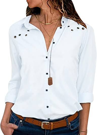 Camisa de Gasa Mujer Blusas Oficina Escote V Blusa Manga ...