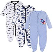 Baby Boy Footed Pajamas - 3 Packs Infant Soft Cotton Long Sleeve Footed Sleeper Pjs Toddler Sleep and Play Onesie (7-9 Months)