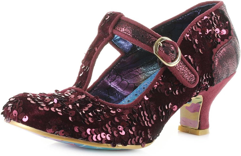 Irregular Choice Womens Build Bridges Bordo Red Sequin Mary Jane shoes Size