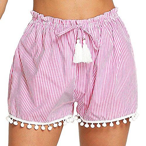 iHAZA Short à Rayures Femmes Loose Mid Taille Gland Boho Shorts Chauds Pantalons