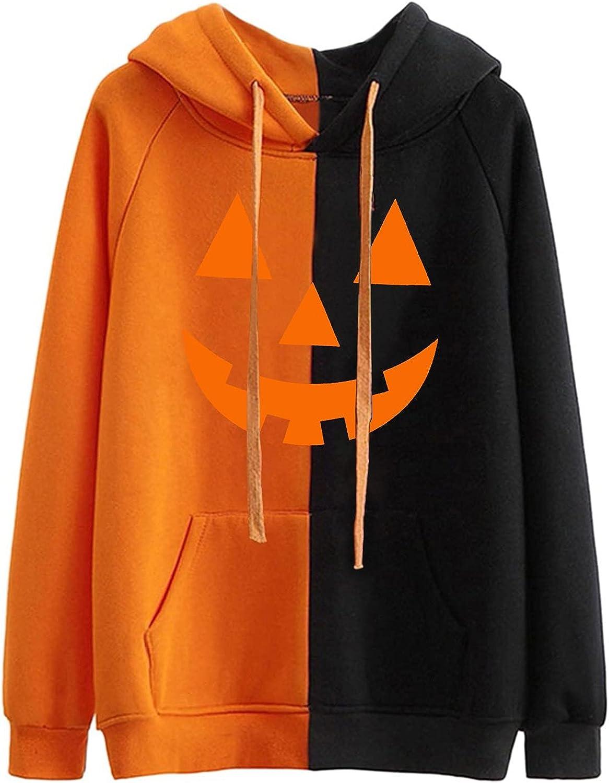 AODONG Women's Long Sleeve Hoodie Sweatshirt, Halloween Funny Cute Pumpkin Pullover Hoodie Sweatshirt Tops Plus Size