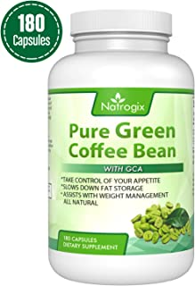 Natrogix 800mg Green Coffee Bean Extract - Pure Natural GCA (Standardized to 50% Chlorogenic Acids) Supplement, Appetite Suppressant to Lose Weight. Energy Booster, Made in USA (180 Capsules).