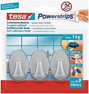 tesa 57519-00000-01 Powerstrips kleine haken, rechthoekig wit, zelfklevend en verwijderbaar (3 haken) Ovaal, Mat Chroom