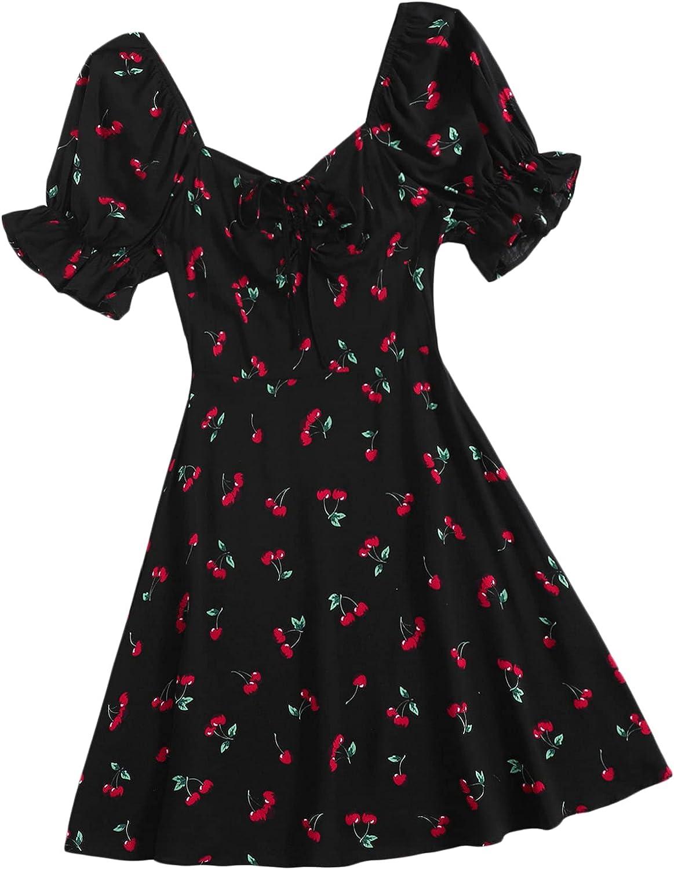 Floerns Women's Summer Drawstring Sweetheart Neck Puff Sleeve A Line Short Dress