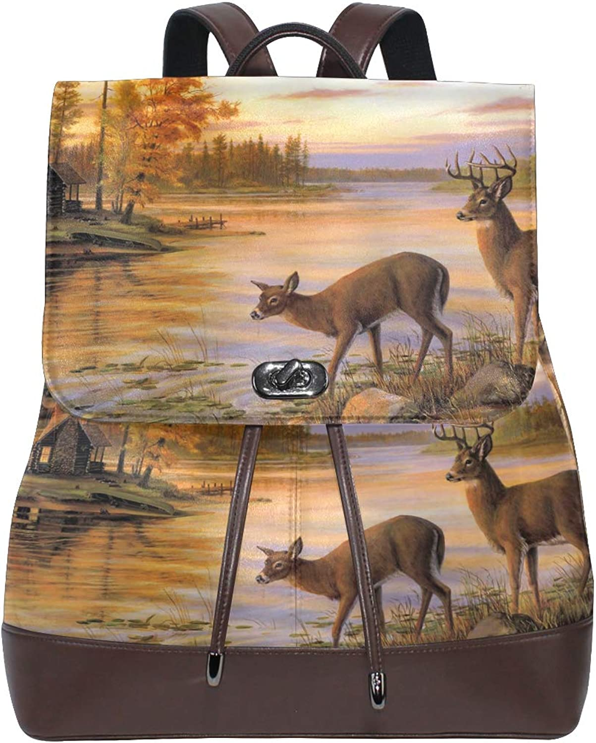 FAJRO Lake House Deer Drinking Water Painting Travel Backpack Leather Handbag School Pack