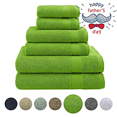 Hotel & Spa Quality, Absorbent and Soft Decorative Kitchen and Bathroom Sets, 100% Genuine Cotton, 6 Piece Turkish Towel Set, Includes 2 Bath Towels, 2 Hand Towels, 2 Washcloths, Lime Green