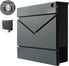 mewmewcat Briefkasten mit St/änder Standbriefkasten aus Edelstahl mit Zeitungshalter und 2 Schl/üsseln 31 x 10,5 x 33,5 cm