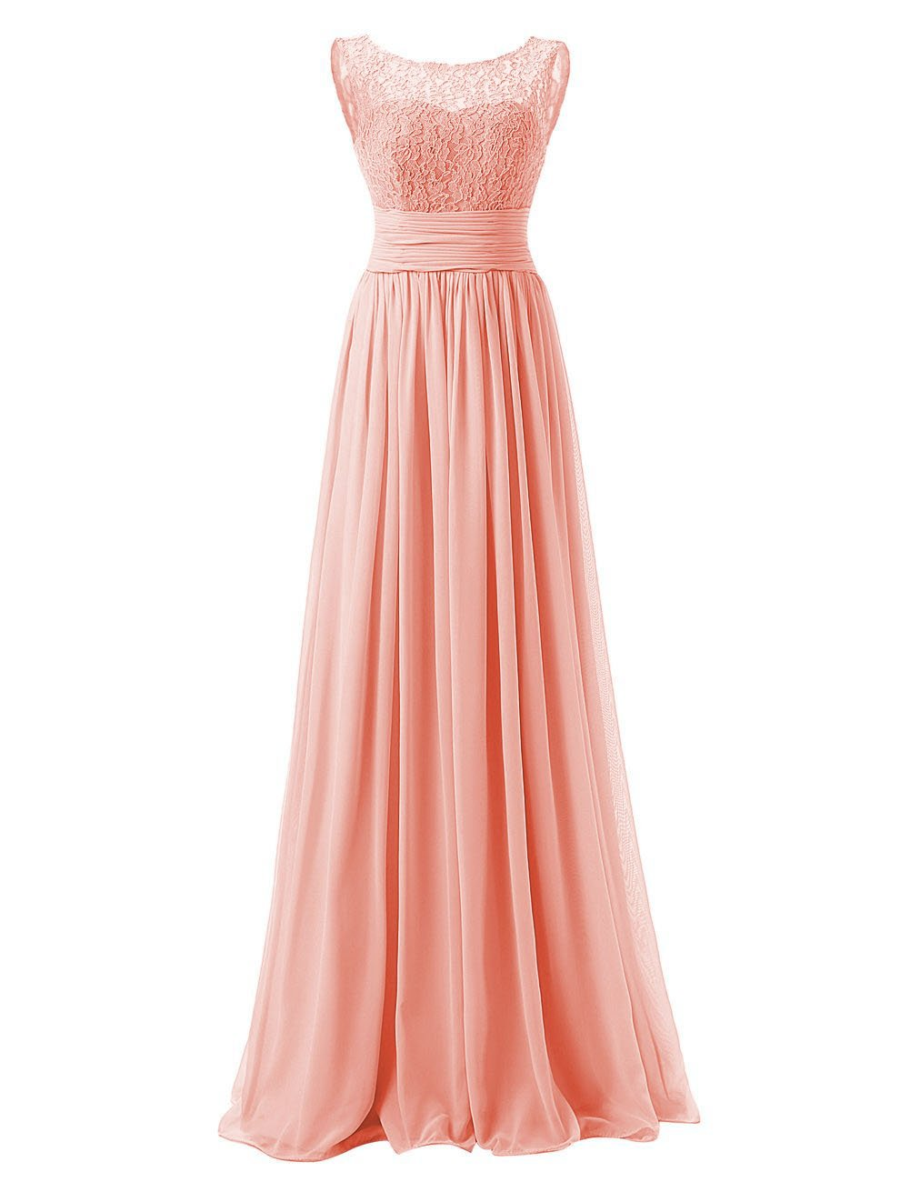 Available at Amazon: Bridesmaid Dresses Long Evening Gowns Chiffon Wedding Party Formal Dress Lace Bodice Maxi US 12 Peach