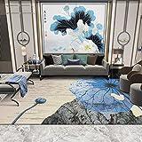 Tapis Grand Salon Tapis Pas Cher Vintage Bleu Lotus Tapis carpettes Chambres Chambre...