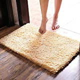 EGOBUY Thick Bathroom Rug Non-Slip Shaggy Shower Mat Machine-Washable Bath Mat with Water Absorbent, 20 x 32 Inches - Beige Yellow