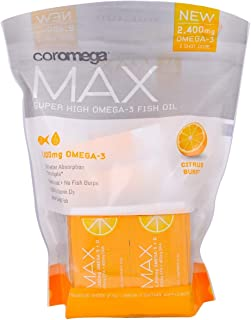 Coromega MAX High Concentrate Omega 3 Fish Oil, 2400mg Omega-3s with 3X Better Absorption Than Softgels, 60 Single Serve Packets, Citrus Burst Flavor; Anti Inflammatory Supplement with Vitamin D