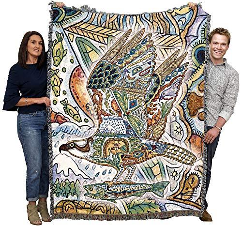 Osprey - Sea Hawk - Animal Spirits Totem - Sue Coccia - Cotton Woven Blanket Throw - Made in The USA (72x54)
