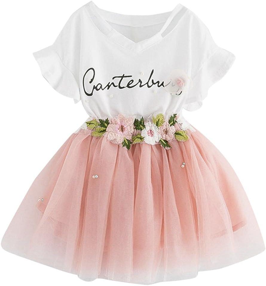 Kleidungsset für Mädchen T-Shirt mit Buchstabenmuster + Rock aus Blumennetz Sommerkleidung Kleinkind Kinder Baby Sommer Kleidung Kinderkleidung Set Mädchen Outfits Bluse T-Shirt Top