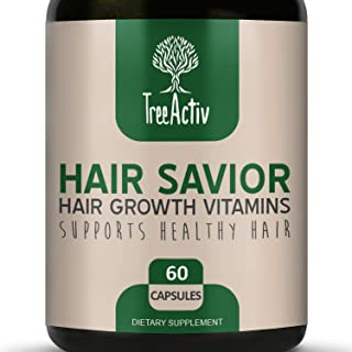 TreeActiv Hair Savior | Hair Growth Vitamins | Natural Herbal Treatment Complex for Men and Women | Biotin Horsetail Kelp Bamboo Extract MSM Saw Palmetto Inositol Folate (60 Pills / 30 Day Supply)