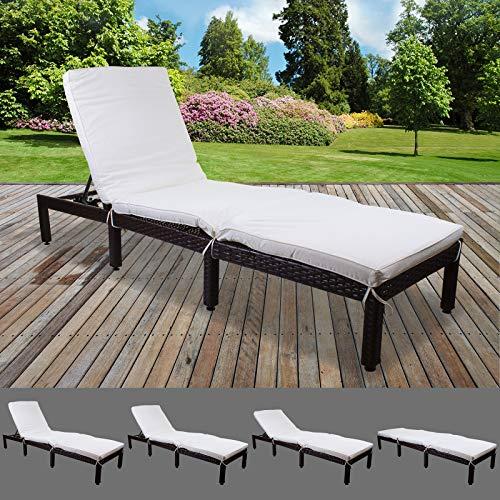 Marko Outdoor Dominican Rattan Sun Lounger Day Bed Recliner Garden Patio Furniture Outdoor Indoor Wicker (Cream)