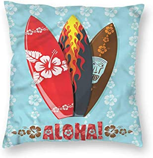 Surf Simple Pillowcase Tribal Mask with Hibiscuses CushionW26 x L26