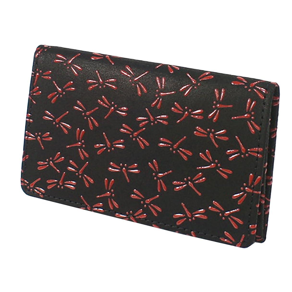 インキュバス投票台風INDEN-YA 印傳屋 印伝 名刺入れ レディース 女性用 黒×赤 とんぼ 2501-21-008