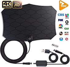 TV Antenna Indoor Amplified HD Digital Television Antenna Long 80-120 Miles Range – Support 4K 1080p and All Older TV's Powerful HDTV Amplifier Signal Booster - 18ft Coax Cable/AC Adap
