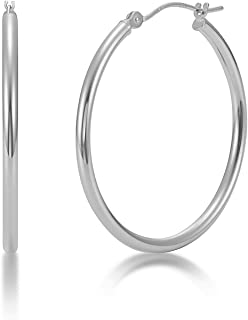 Kezef Creations Sterling Silver Polished Round Tube Hoop Earrings 2mm - Secure Click top Closure