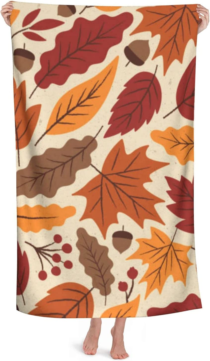 Large 4 years warranty Beach Towel Autumn Leaves Oversized Blanket - Ranking TOP4 Cotton 100%