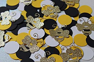 Baby To Bee Gold Glitter Bumble Bee Confetti - Mama To Bee - Bride To Bee Confetti (Set of 335 Pieces)
