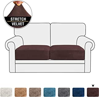 Stretch Velvet Couch Cushion Covers for Individual Cushions Sofa Cushion Covers Seat Cushion Covers, Thicker Bouncy with Elastic Edge Cover up to 10 Inch Thickness Cushions (2 Pieces, Brown)