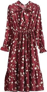 Lowprofile Chiffon Dress with Bow Tie Women Loose Bell Sleeve Lightwight Vintage Boho Midi Dress