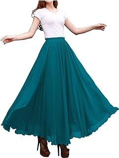 Indian Trendy Womens Chiffon Full Length Elastic Waist Retro Long High Maxi Skirt Summer Beach Vintage Dress Big Hem 360 (...