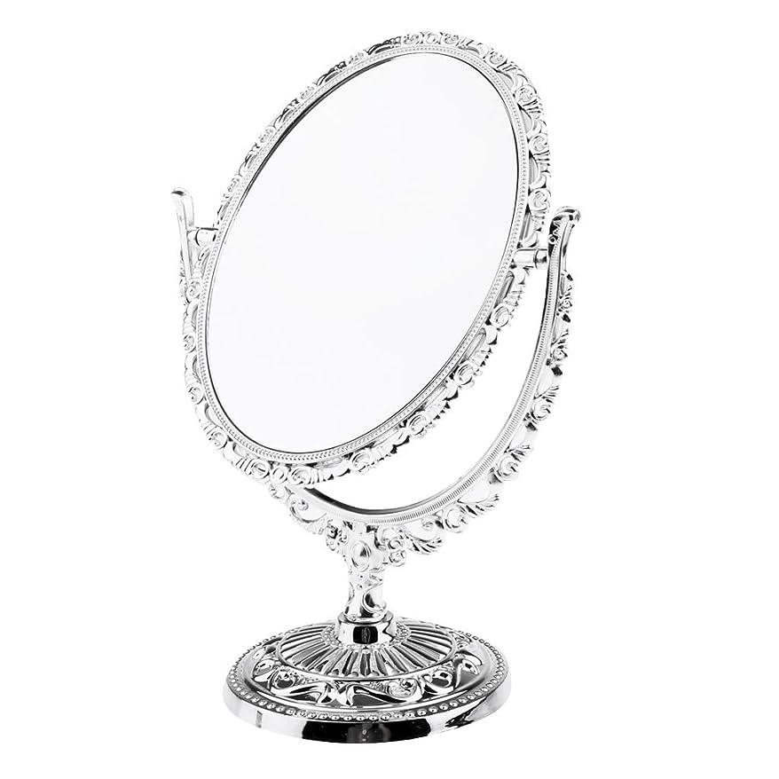 Perfeclan ミラー 卓上ミラー 360度回転 メイクアップミラー 拡大しない スタンドミラー 化粧鏡 全2種類 - オーバル