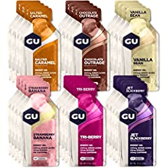Variety Pack includes Chocolate Outrage, Salted Caramel, Vanilla Bean, Jet Blackberry, Tri-berry, and Strawberry Banana; caffeine varies by flavor The Original Sports Nutrition Energy Gel designed to help athletes perform their best; 100 calories and...