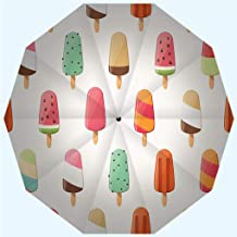 Fashion Travel Umbrella Sun Umbrella UV protection automatic opening and closing, Ice cream seamless pattern colorful summer background, windproof - rainproof - men - ladies - versatile - 42 inches