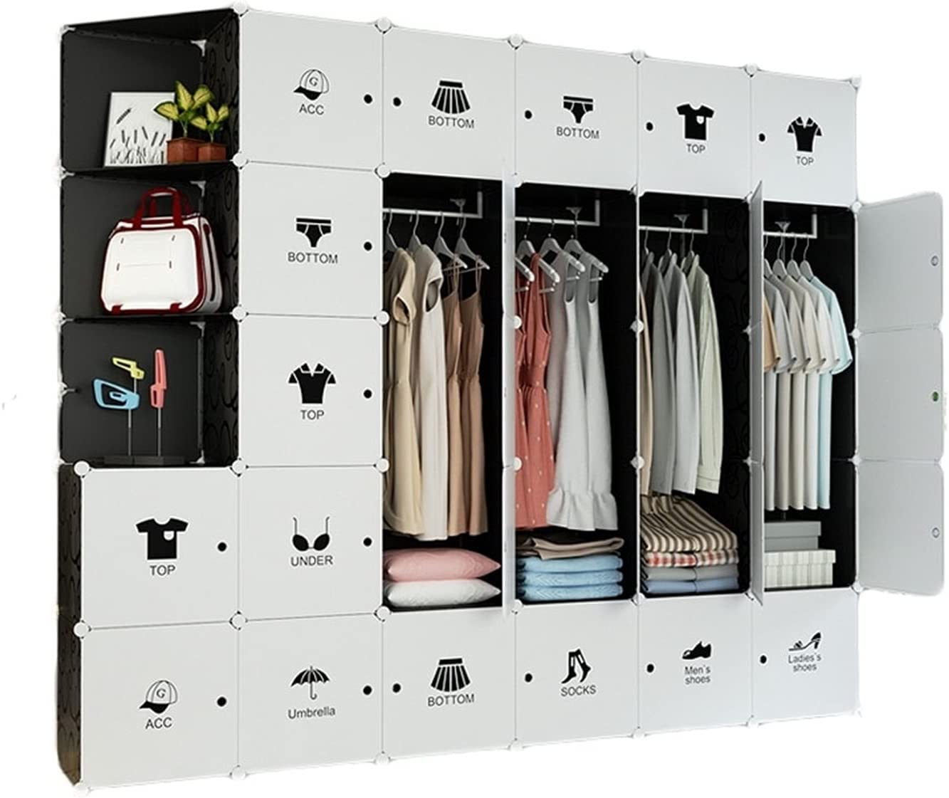Max San Francisco Mall 88% OFF QIAOLI Plastic Portable Wardrobe Closet Clothes Armo Bedroom for