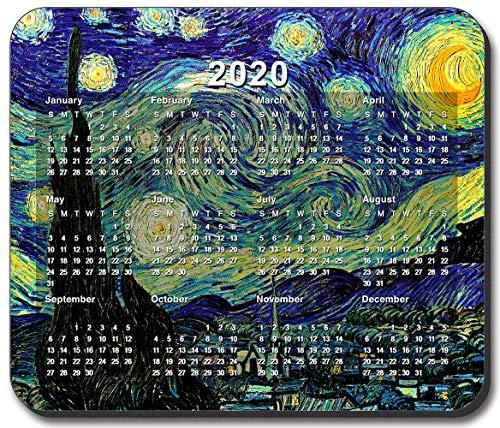 Art Plates Brand - Van Gogh Starry Night Mouse Pad - with 2020 Calendar