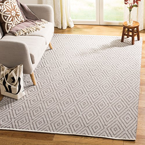 Safavieh Montauk Collection MTK811A Handmade Flatweave Grey and Ivory Cotton Area Rug (8' x 10')