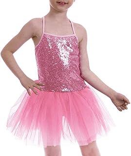 Vestido Maillot de Ballet para Niña Vestido Danza Gimnasia Patinaje Tul Tutú Ballet Niña Brillante