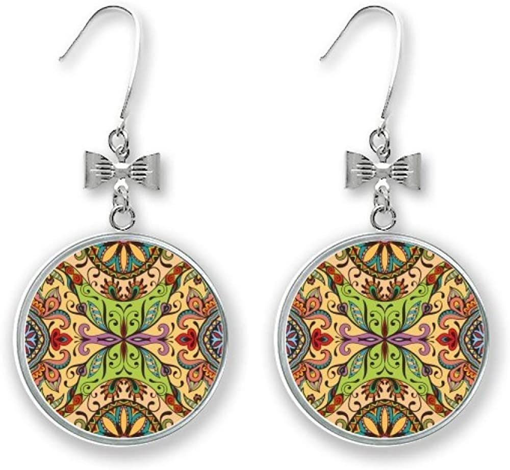 Limited price European Style Pattern Flowers Leaves Drop Lines Earrings St Bow Mesa Mall