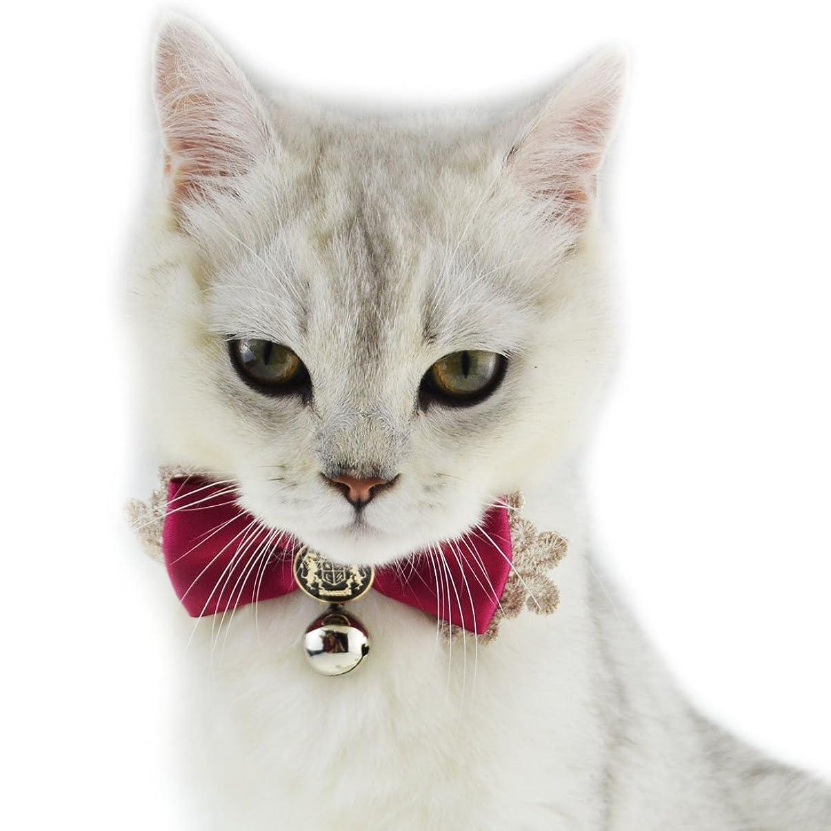 魅力的であることへのアピールインタネットを見るシェア猫 首輪 リボン ネコ 首輪 猫 首輪 リボン 首飾り リボン付け襟 レース 柔らかい皮 猫くびわ 鈴つき 貴族風ちょう結び猫用首輪 調節可能 【子猫首輪/子犬首輪/うさぎ/小中型ペット 首輪 (S, レッド) [並行輸入品]