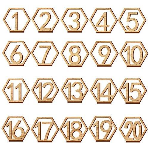Segnaposto esagonali con numeri da 1 a 20, adatti per matrimoni, ristoranti, club, bar, ecc. (11 x 9,7 x 0,3 cm)