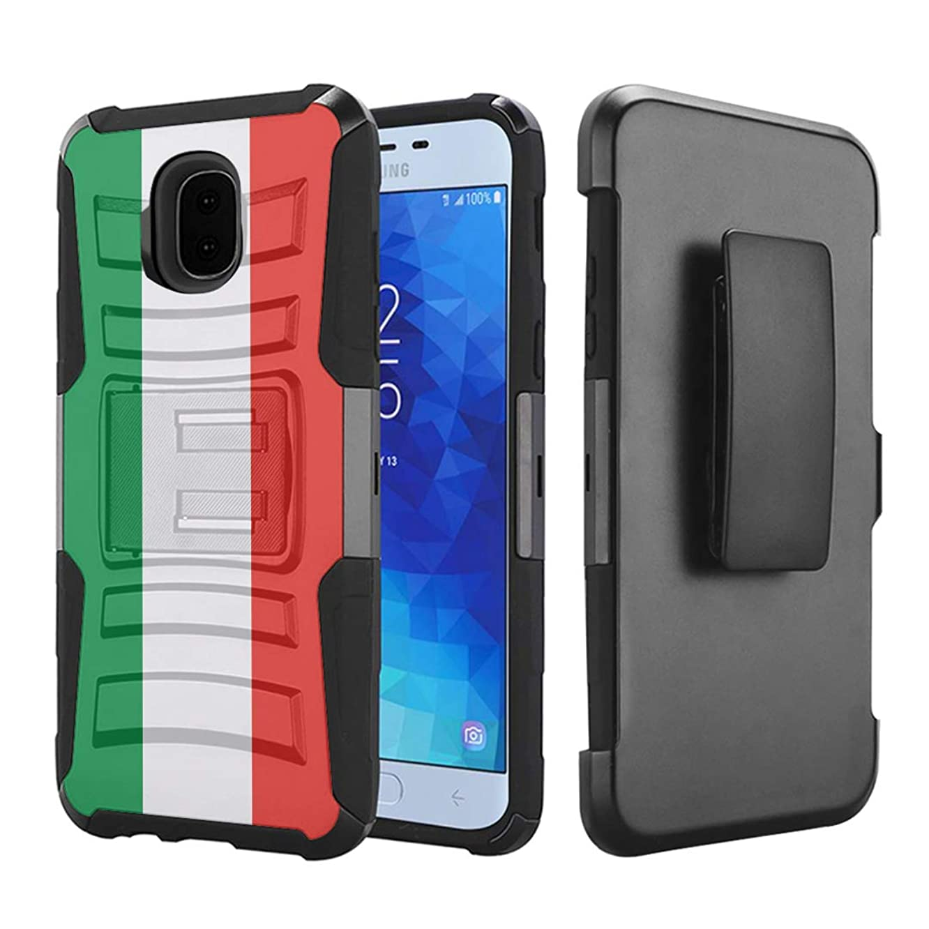 Capsule Case Compatible with Samsung Galaxy J7 2018 (J737), J7 Star, J7 Aero, J7 Refine, J7V 2nd Gen, J7 Crown, J7 Eon [Hybrid Layer Kickstand Holster Case Black] - (Italy Flag)