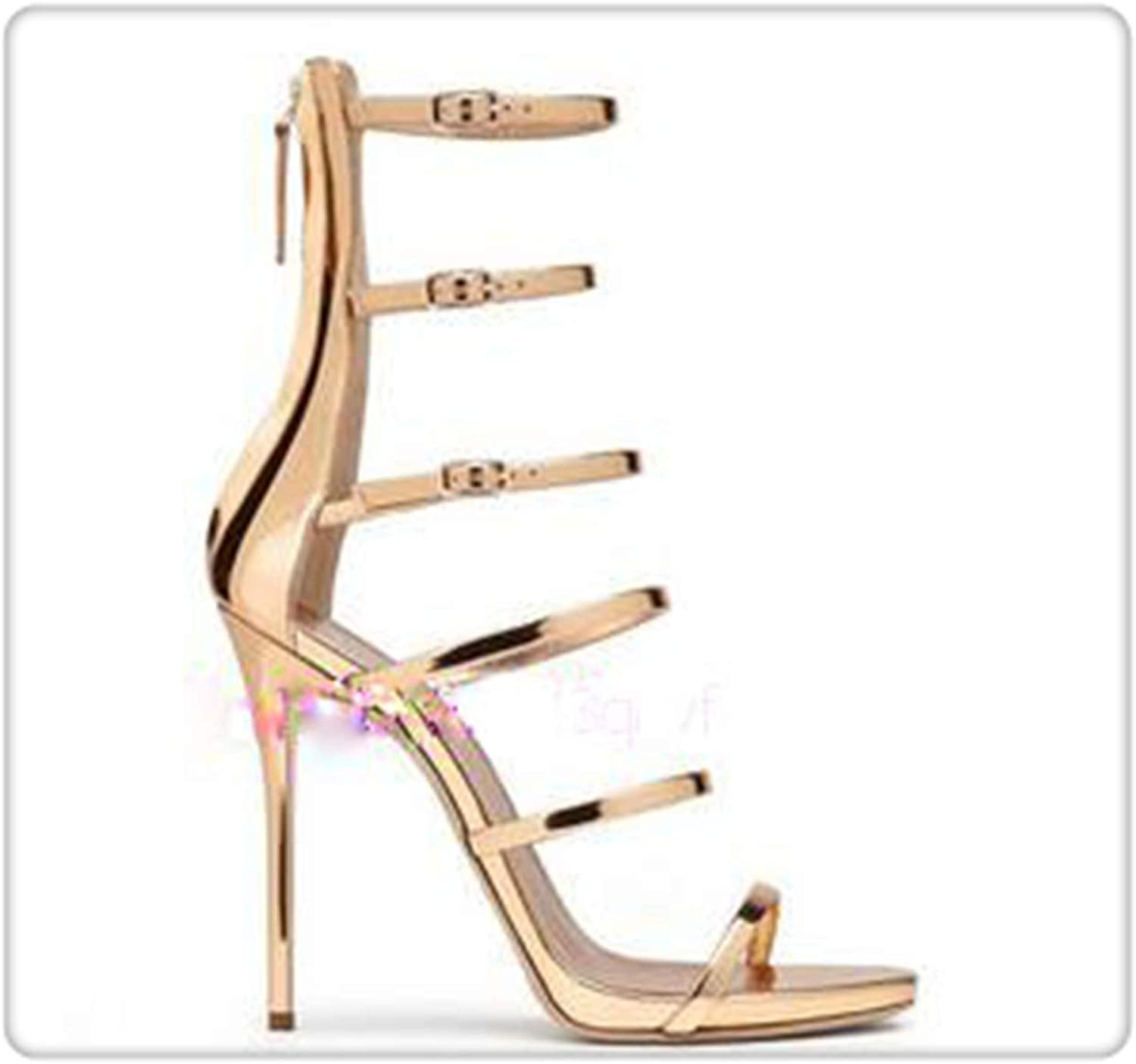 ANGERT& gold Metallic High Heel Sandal Cut-Outs Buckle Strappy Sandal Woman Sexy Gladiator Women Sandals as Showed color 9