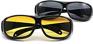 Dayons UV Protected HD Night Vision Unisex Sunglasses for Car Drivers (Standard Size, Multicolour)