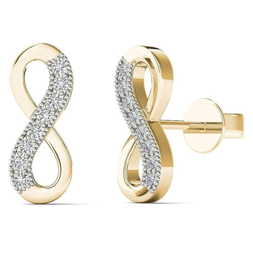 JewelAngel Women's 10K Yellow Gold Diamond Accent Infinity Stud Earrings (H-I, I1-I2)