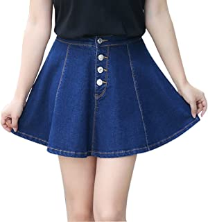 Gihuo Women's Casual Button Front Denim A-Line Pleated Mini Denim Skirt