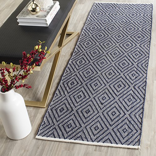Safavieh Montauk Collection MTK811C Handmade Flatweave Navy and Ivory Cotton Runner (2